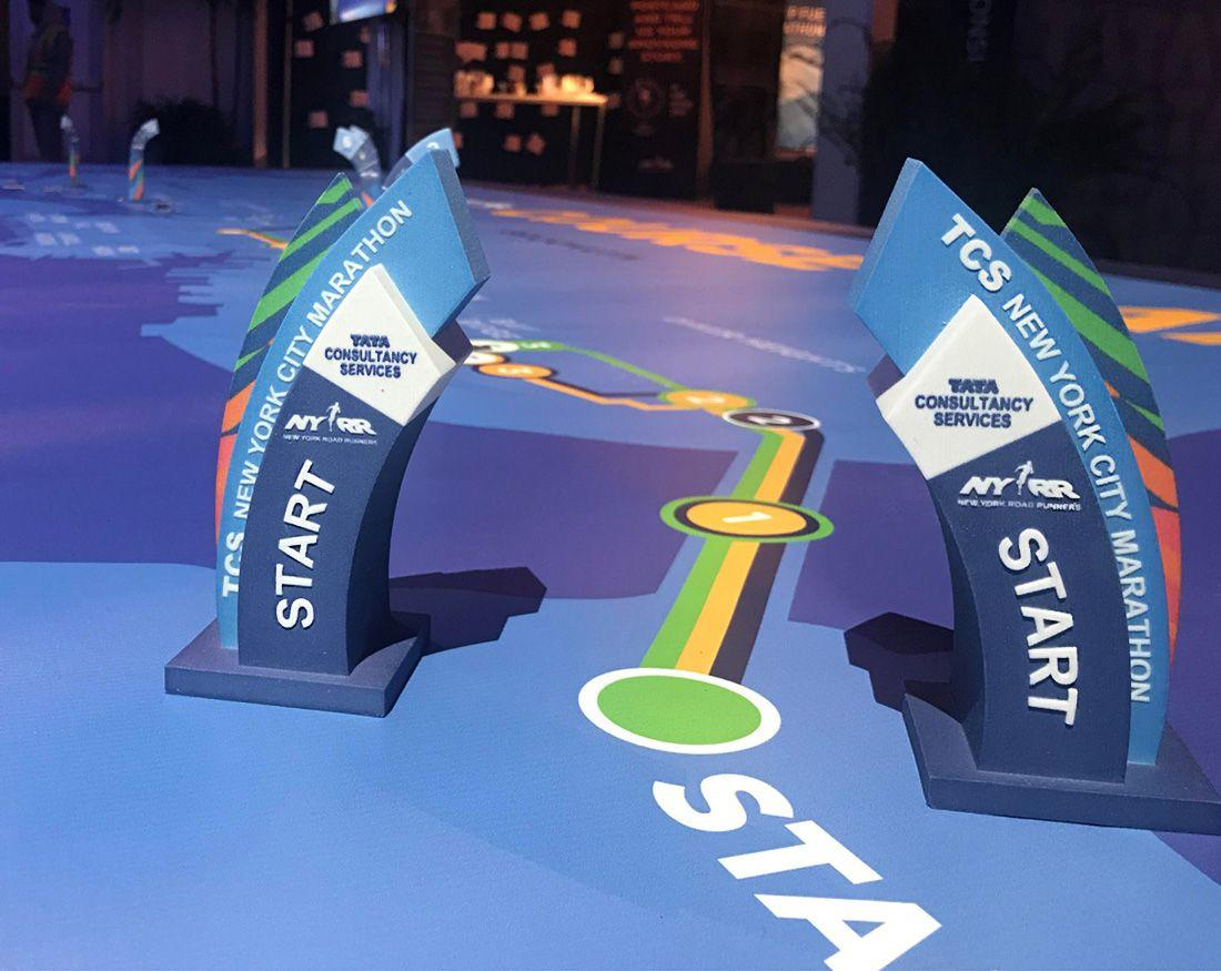 Color 3d printing New York City Marathon color 3d printed mile markers example one